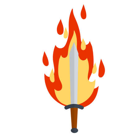 Fiery sword. Magic weapon of knight, sorcerer, magician. Fire spell. Burning blade. The medieval element of game. Dangerous hotter the flames. Vettoriali