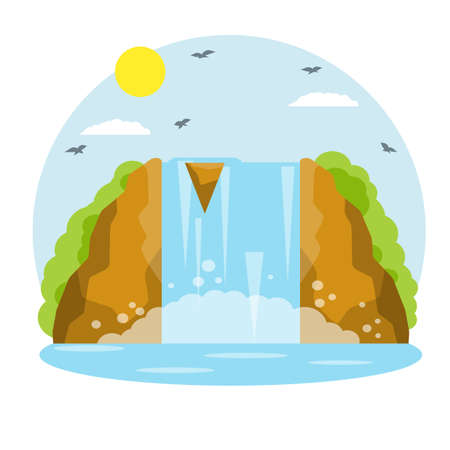Waterfall on the mountain. Rocks and water. Tropical island. Summer season, Southern landscape. Cartoon flat illustration. Pond and lake. Water falls down
