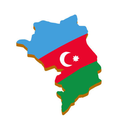 Map of Republic of Nagorno-Karabakh. Caucasian state on background of flag of Azerbaijan. Disputed territory of Armenia. Flat cartoon 矢量图像