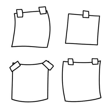 Sticker. Empty piece of paper with sticky tape. Place for reminders and text. Set of objects of different shapes. Blank sheet. Black and white cartoon illustration Ilustracja