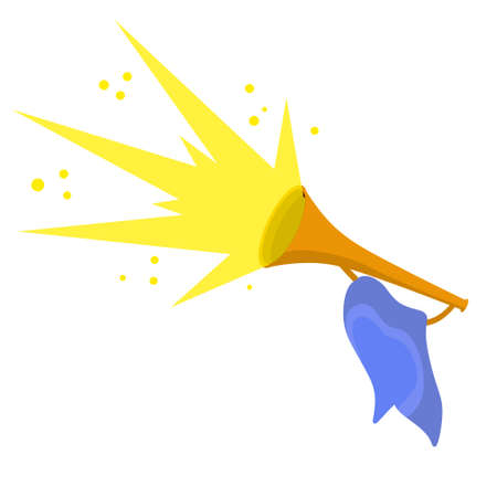 Trumpet. Musical instrument. Element of celebration and awards. Sound and melody. Yellow flash. Golden horn with flag. Solemn event