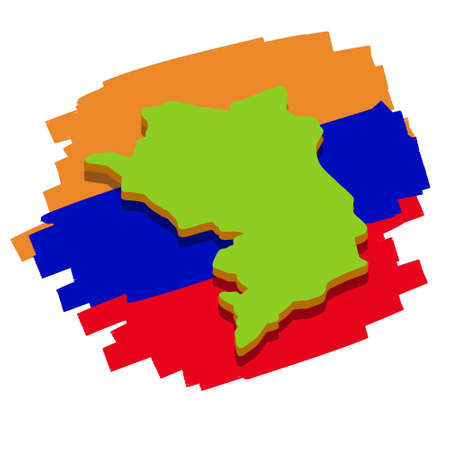 Map of Republic of Nagorno-Karabakh. Caucasian state on background of flag of Armenia. Disputed territory of Azerbaijan. Flat cartoon