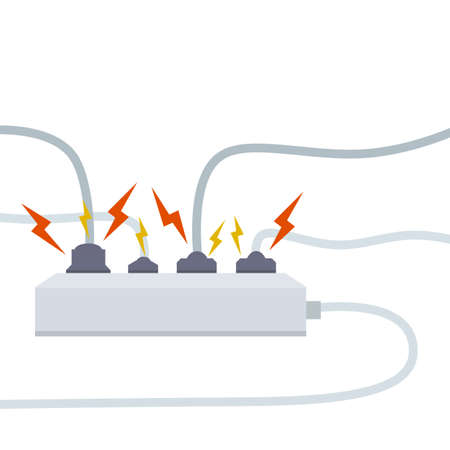Electrical circuit. Shock, red lightning and yellow sparks from the outlet. Connector and plug. System overload. The problem with the appliance. Fire situation with smoke and safety.