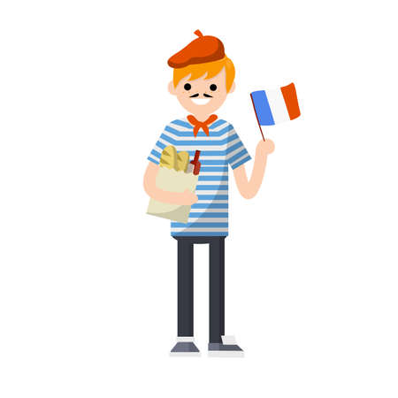 Young French guy in striped t-shirt with red tie. man with flag of France, package of products - bread and wine. national costume. European tourism - Cartoon flat illustration