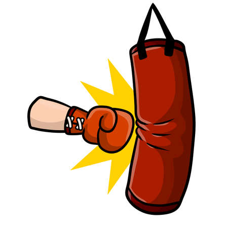 Red Boxing glove. Punch the punching bag. Sports inventory and equipment. Fight and hit. Training and championship. Cartoon drawn illustration 矢量图像