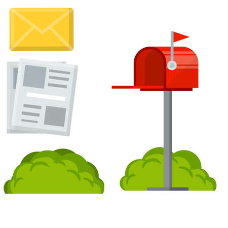 Red mailbox with yellow letter in envelope. Mail and message. Cartoon flat illustration. Work post office. Communication between people