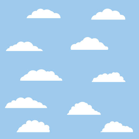 White bubbles cloud. Isolated Cartoon flat illustration. Blue sky and good summer weather