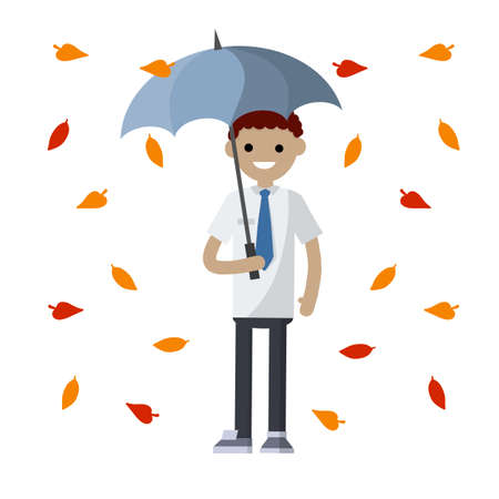 Businessman and yellow leaves. Cartoon flat illustration. Protection from autumn weather and problems. Man in white shirt and red tie stands in rain with blue umbrella. guy in office clothes 矢量图像