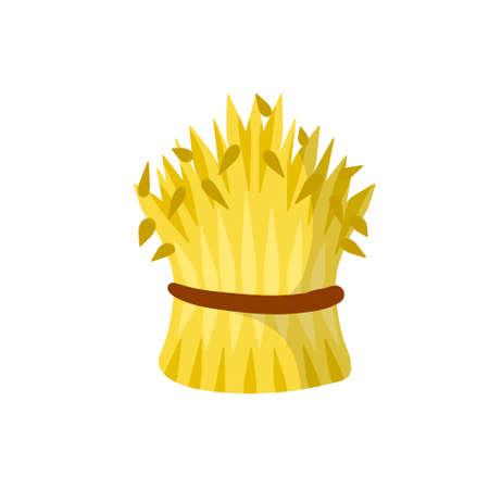 Sheaf of hay. Village harvest. Yellow dried plants. Production of natural food on the farm. Countryside is a Stack of wheat ears Vetores