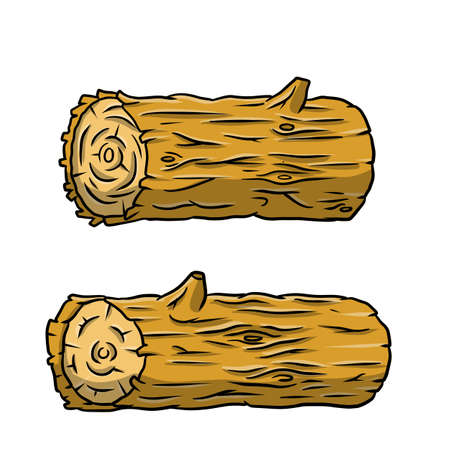 Vector Brown log. Building wood material. Natural element. Environment of forest. Set of cartoon illustration
