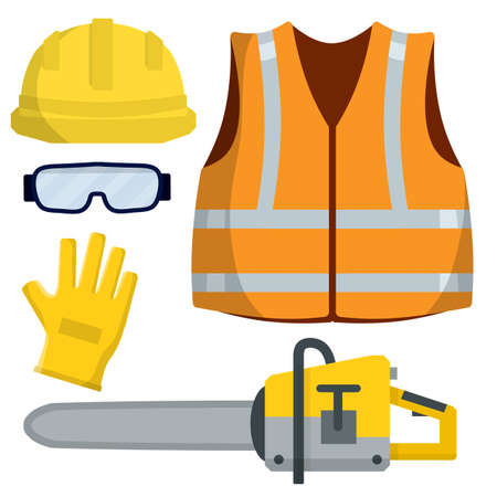 Set of clothes Builder and worker. Yellow vest, helmet, glasses, gloves. Cartoon flat illustration. Chainsaw of lumberjack. Repair and maintenance. Safety and tools for cutting trees