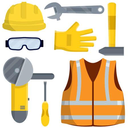 Set of clothes Builder and worker. Orange vest, helmet, glasses, gloves. Grinder, screwdriver, hammer, wrench. Repair and maintenance. Safety and tools. Cartoon flat illustration