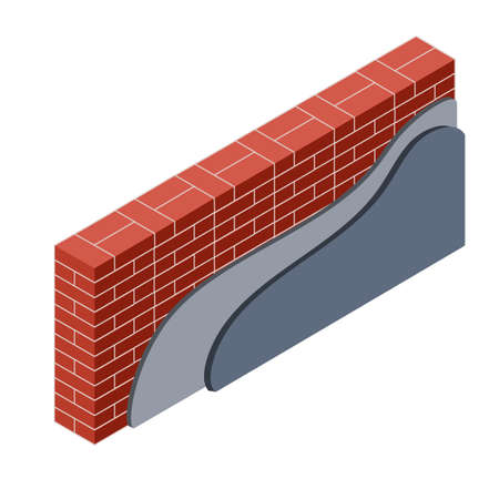 Red brick wall with layers of plaster and insulation. Material for home repair. Construction of buildings. Scheme of applying blue and yellow layer