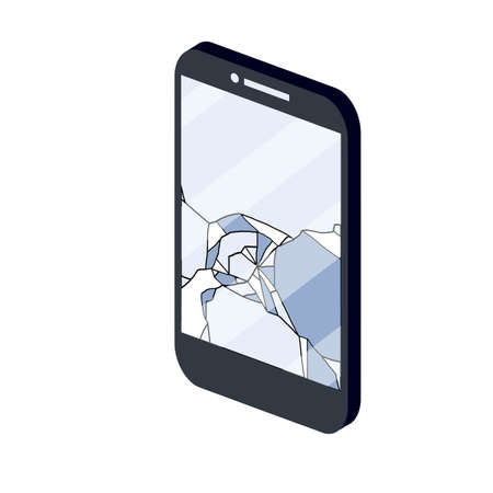 Crack on the mobile phone screen. Technical failure and damaged gadget with glass. Broken device. Service and repair work. Careless handling.