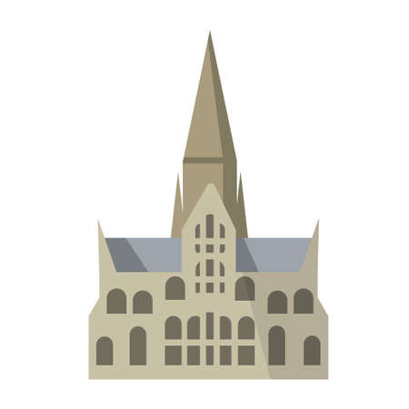 Salisbury Cathedral of virgin Mary. Gothic Church in England. Anglican religious building. Landmark of medieval city. Flat cartoon