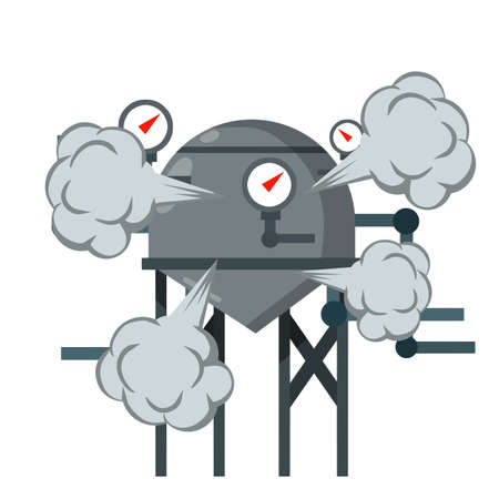 Element of house, bath and toilet system. Cartoon flat illustration. Overloaded steam boiler. Accident, explosion and smoke. Tank with pipe and dial. Sanitary engineering