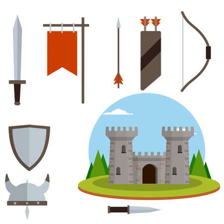 Medieval set of item. European castle with tower, shield, sword, red flag, tournament, arrow, bow, quiver, helmet of Viking. Historical subject. Cartoon flat illustration. Old armor and knight weapons 向量圖像