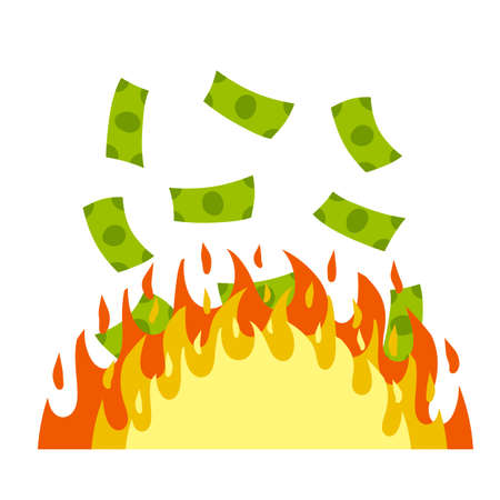 Money is on fire. Concept of the economic crisis. The flame and the burning of the banknotes. Loss of cash. Cartoon flat illustration isolated on white