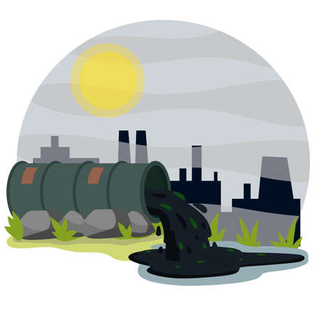 Industrial discharge from pipe. Pollution of nature and ecology. Plant and pipe with smoke. Green stream in the river. Modern problem. Chemical waste. Cartoon flat illustration