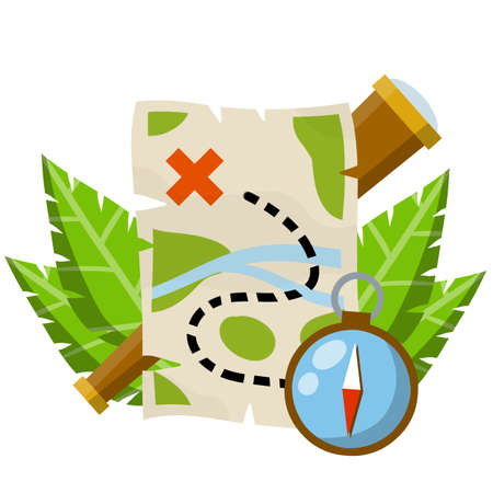 Treasure map. Pirate hidden treasure. Search for adventure and travel. Telescope and compass. Navigation and path. Flat cartoon icon Çizim