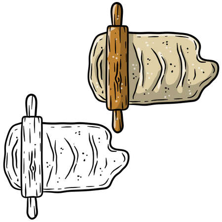 Rolling pin and dough. Wooden appliance for kitchen and cooking. Kneading dough. Cartoon sketch doodle illustration. Preparation of bread and pastries