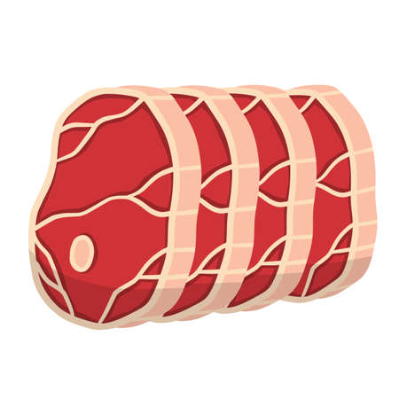 Piece of raw meat. Fresh red food with streaks and fat. Element of kitchen, grill, BBQ, steak and delicious meal. Cartoon illustration. Cut off half beef piece