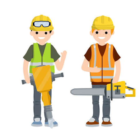 Construction work. Clothing and tools worker. Yellow uniform, gloves, jackhammer, goggles, green vest and helmet. Cartoon flat illustration. Chainsaw and Logger. Maintenance service Illustration