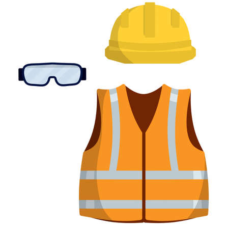 Clothing of worker and the Builder. Orange uniform, glasses and helmet. industrial safety. Type of profession. Cartoon flat illustration