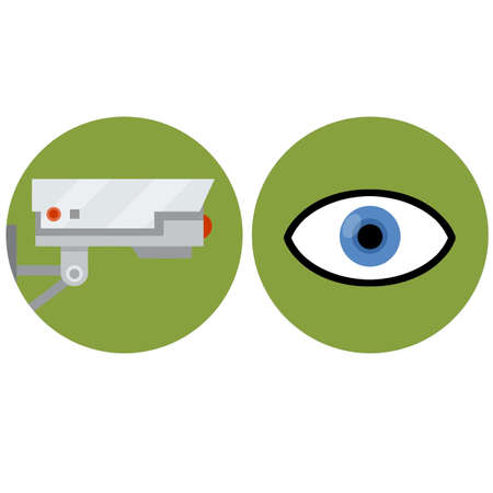 Video surveillance camera. Security footage set. White CCTV device with red lens. Cartoon flat illustration. Safety and security. Human eye icon. control and monitoring in circle