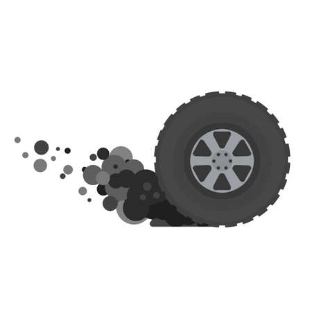 Tire of car. Speed and racing. Cartoon flat illustration. Gray smoke from wheel
