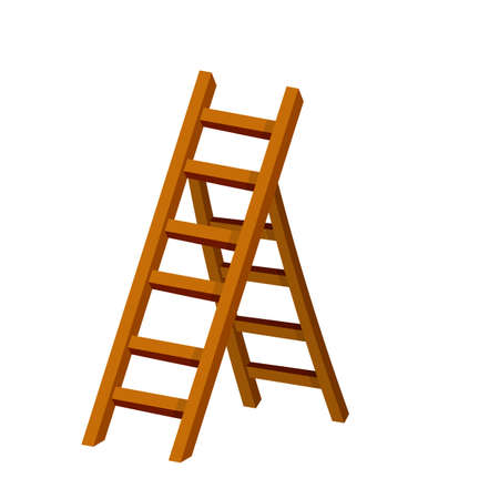 Stairs. Object for climbing to the top in different positions. Cartoon flat illustration. Gray metal stepladder