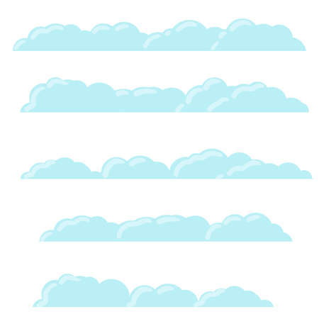 Blue bubbles cloud. Isolated Cartoon flat illustration. White sky and good summer weather