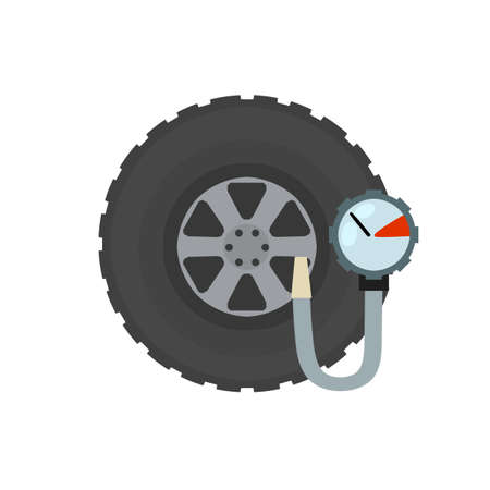 Measuring the pressure in a car tire. Wheel repairs. Service and support. Flat cartoon illustration. Technical pressure gauge. Stock Illustratie