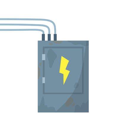 High voltage sensor. Technical industrial appliance. Danger sign - yellow lightning. Current switch. Cartoon flat illustration. Fuse and electrical engineering Ilustración de vector