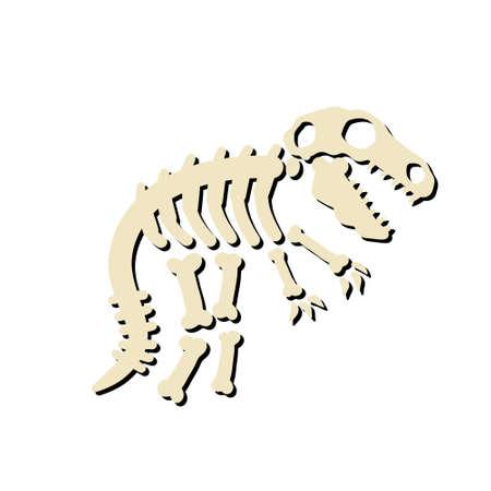 Dinosaur skeleton. Bones of a prehistoric lizard. The Halloween element. Archeology and history. Cartoon dino illustration. Funny monster. Ilustração