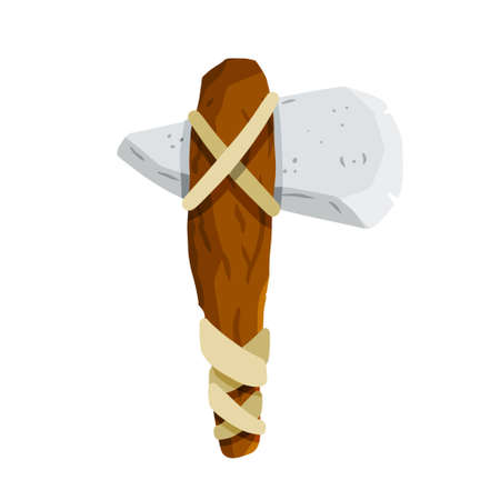 Stone axes. Primitive man weapon. Stone age hunting tools. Flat cartoon illustration