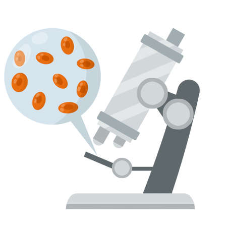 Microscope. Scientific equipment of laboratory. Study of microcosm. Education and science. Magnifying glass. Blood cell. Test and research. Flat icon
