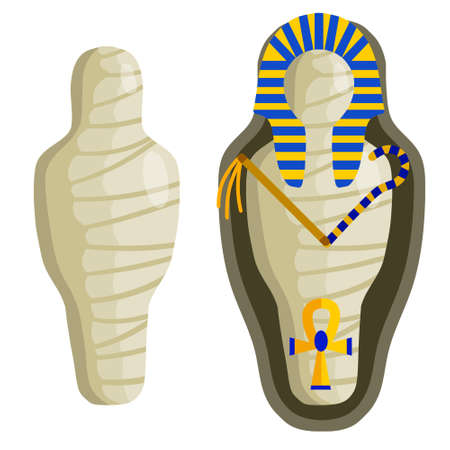 Mummy in sarcophagus. Body of Pharaoh. Egyptian king. Archeology and Halloween monster. Golden scepter and symbol of immortality. Flat cartoon illustration
