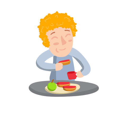 Boy eat Breakfast with sandwiches, Apple and tea in mug. Child at table. Food and element of kitchen. Happy character. Flat cartoon illustration