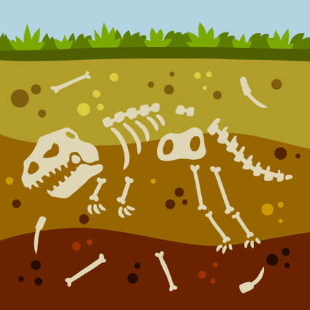 Dinosaur skeleton. Bones of a prehistoric lizard. Flat cartoon landscape. Historical find and archaeological excavations. Land in the section. Soil with layers Vettoriali