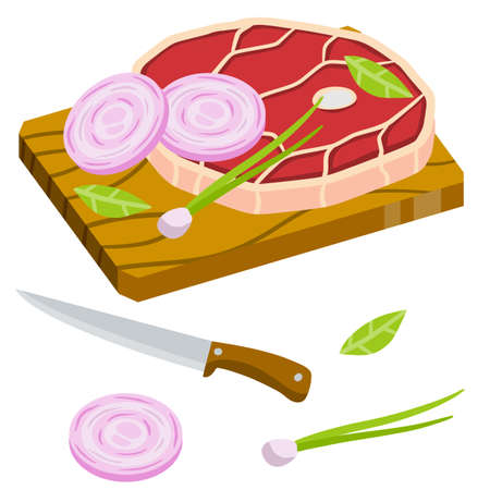 Piece of raw meat on chopping Board. Chops and ingredients. Cooking food. Kitchen and restaurant elements. Fresh beef and pork. Flat cartoon illustration