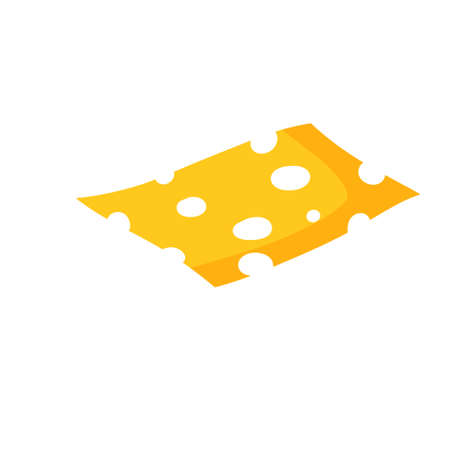 Piece of cheese. Slice food. Yellow ingredient with holes. Roquefort dairy products. Flat cartoon illustration