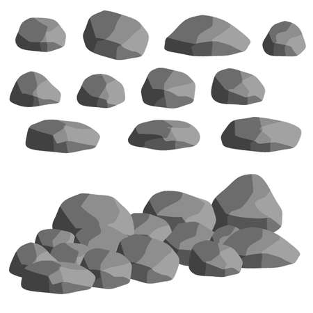 Set of gray granite stones of different shapes. Element of nature, mountains, rocks, caves. Minerals, boulder and cobble isolated on white