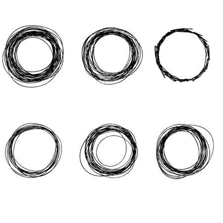 Drawn circle. Abstract geometric shape with uneven edges. Black line. Set of objects for formatting notes. Chaotic form.