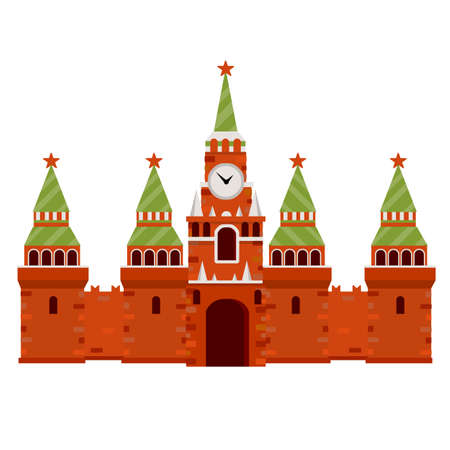 Cartoon flat illustration. Moscow kremlin. Tourist destination for tour to capital. Fortress with a tower and wall. A tourist attraction