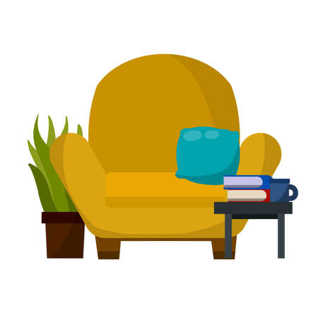 Chair, table with book. Furniture in a cozy room. Brown armchair. Soft seat. place to read and relax. Cartoon flat illustration. Red pillow