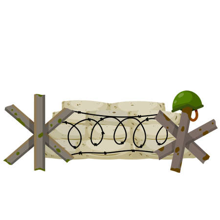 Military barricade of sandbags. Fortified firing point. Defense construction. Modern warfare. The wall of the bag. Outpost and barrier. Protective anti-tank obstacle.