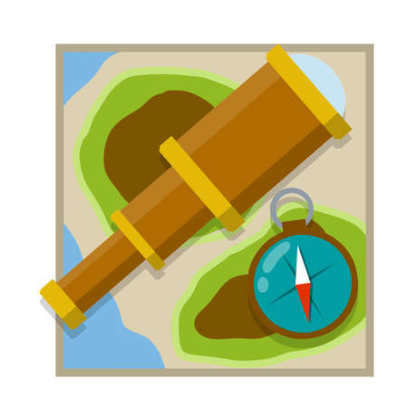 Telescope, compass, map. Search for pirate treasure, travel and discovery. Retro objects for research. Square icon. Cartoon flat illustration