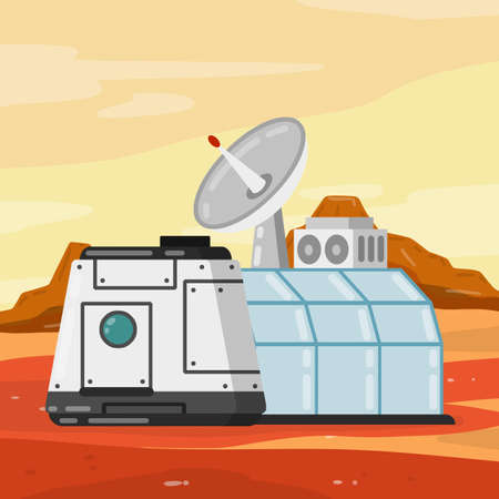 Marisan module. Spaceship, base, and living quarters. Cosmonaut colony and dome. Radar and dome. Flat cartoon. Space flight and colonization. Future and science