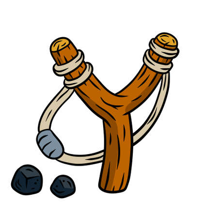 Slingshot with wooden catapult. Children toy for throwing stones. Shooting and small rock. Cartoon drawn illustration isolated on white background